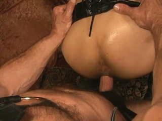 Slaves with leather bound top breeding scene