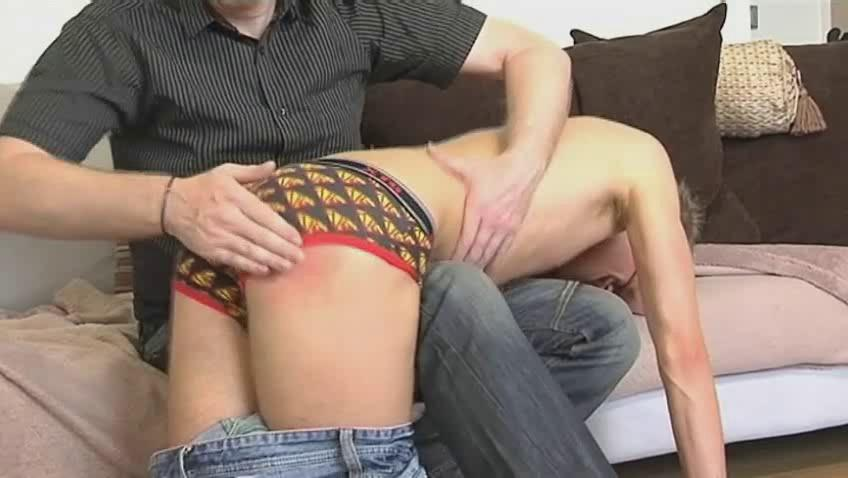 Skinny gay dude acquires bent over older hunks knee and spanked