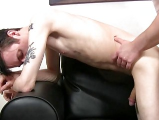 Pale skinny and tattooed twink acquires slammed doggy style by mature hunk
