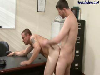 Hunky office fellows turn out to be twinks and they butt fuck every other