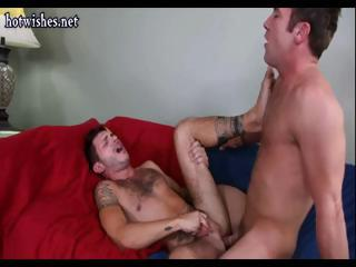 Lascivious tattooed guy gets to suck some rod and fuck some constricted man ass