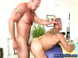 Mature homosexual masseur assfucks hunky straight fellow