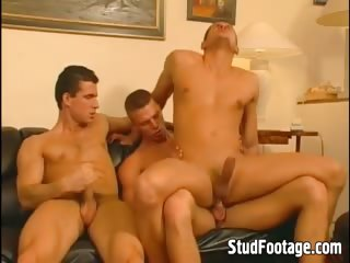 Watch biker boys in threesome action