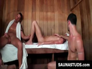 Homosexual twink gives a decision to go to the sauna and ends up in a homosexual threesome