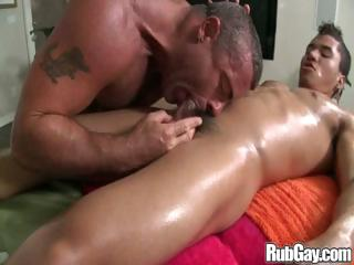 Homosexual guy eats a schlong in advance of this chab goes for an anal ride on it