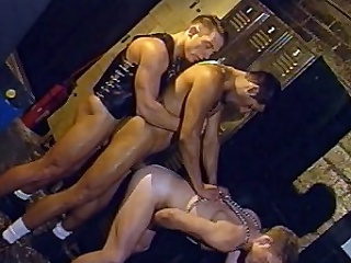 In this scorching hot group sex, 3 gracious men in leather...