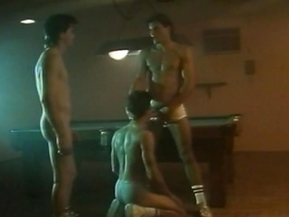3 sexy hunks had an all-male cock engulfing act at the billiard...