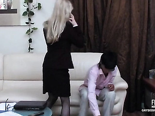 Golden-haired sissy secretary in a sexy costume plays numbers game in advance of homosexual bumming