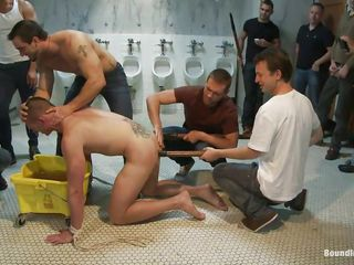 Hawt gay dude doesn't merits ball cream yet and the men around him are treating his fit body like garbage, just the way he loves it. Why use the urinals when they can use his face to void urine on so they put him down on the floor, grab his neck and void urine all over his face before sticking his head in a bucket full with urine.