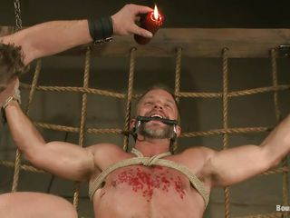 Dirk Caber is about to learn a lot about fun and pain as his executor pours hot wax on his chest after engulfing his hard soaked dong with lust. His schlong and balls are fastened hard and that guy can't oppose 'cuz he's hands and legs are fastened real hard. What kinds of torture will that guy endure next?