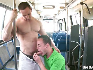 See Ryan Evans and Ty Tucker sucking getting nasty in the bus in broad daylight. See 'em talking to each other and getting aroused by minutes. One of 'em tempt the other one pretty soon and then that guy pulls his pants down to let the other one engulf is hard cock. Hope we'll watch the pecker sucker guy getting his ass screwed hard.