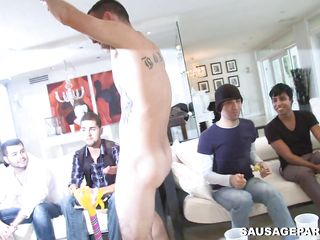 A gay man enters the scene and is having his ramrod sucked by a multitude of men. His longjohn will be sufficiently for every and every one of those men? Which of those will begin to fuck and in which positions?