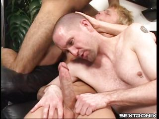 Sex has never been so enjoyment for Russ. He's about to experience the full hardness of 2 juvenile cocks, a blond and a brunet one. The boys are taking great care of his lustful face hole and sexy booty and fill him up with their dicks. The dark brown one copulates his face hole and pulls him by the head and the blonde rips his anus