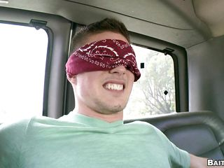 When the blind fold comes off that guy is totally shocked as that guy entered the bus awaiting to have sex with beautiful hawt woman and that babe blindfolded him with promises of great sex and solely when that guy removes his blindfold that guy realizes that that guy has been tricked and it is the man giving him the blowjob.