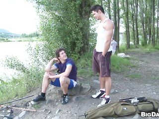These two men are out for hiking. And suddenly, out in this sunny day in this forest they feel like engulfing cock. So those muscled hot men get down and put out cocks and starts giving blowjob! By turn they engulf each others 10-Pounder and getting willing to cum.