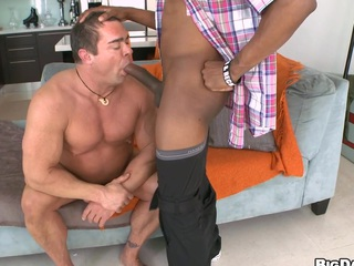 Mature guy is engulfing a lengthy chocolate shaft and drinks his cum!