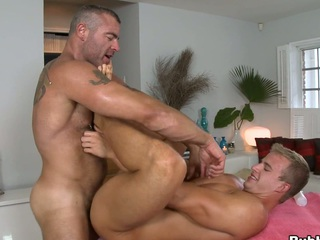Great dude with extremely large cock bangs his client like a doll