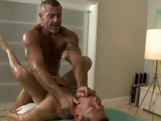 Twink is giving a delightful oral sex for cute homo masseur